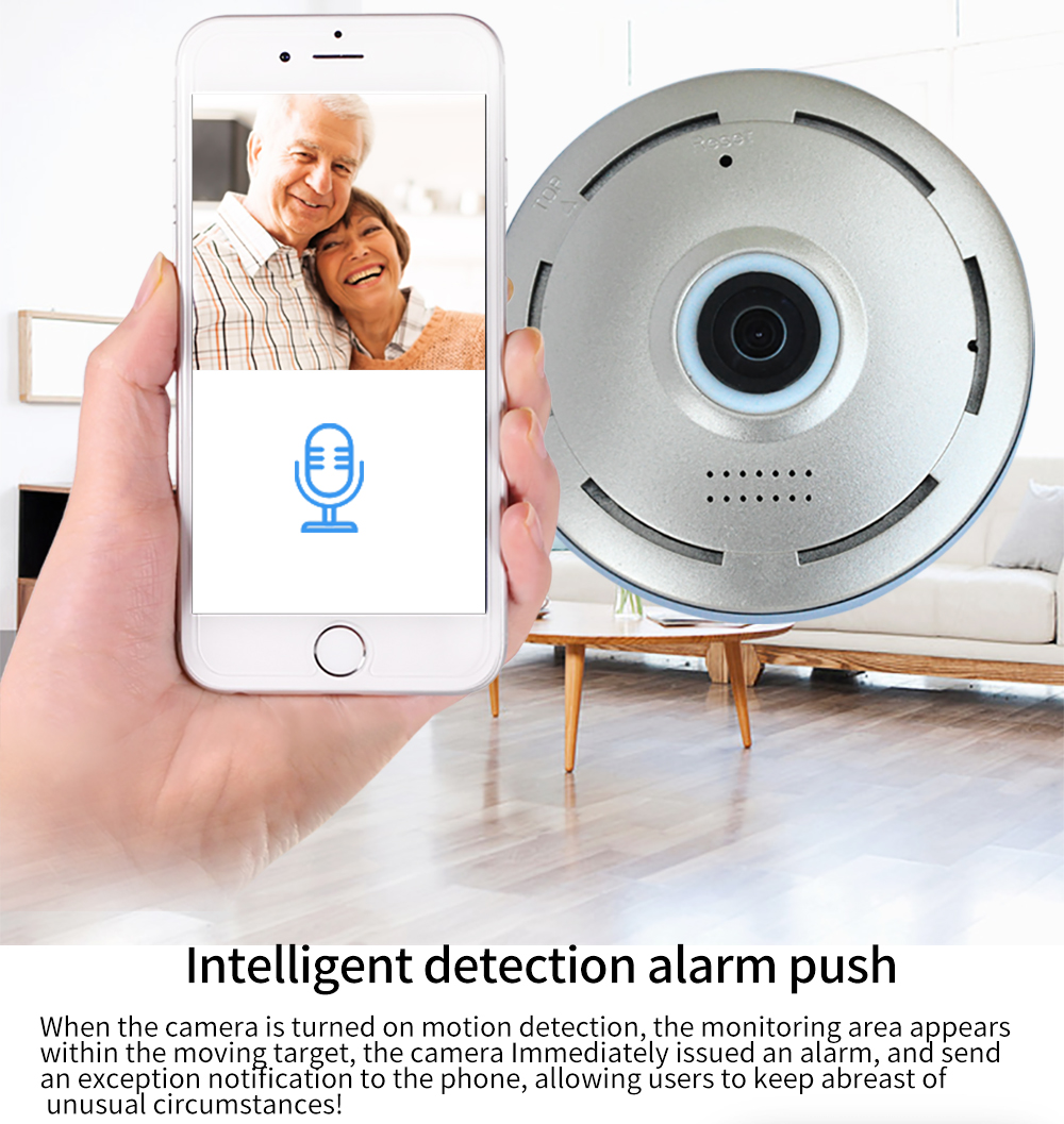 Chingsion 360 Degree smart panoramin webcam Mini wireless camera IP camera 960P wifi support P2P two way audio