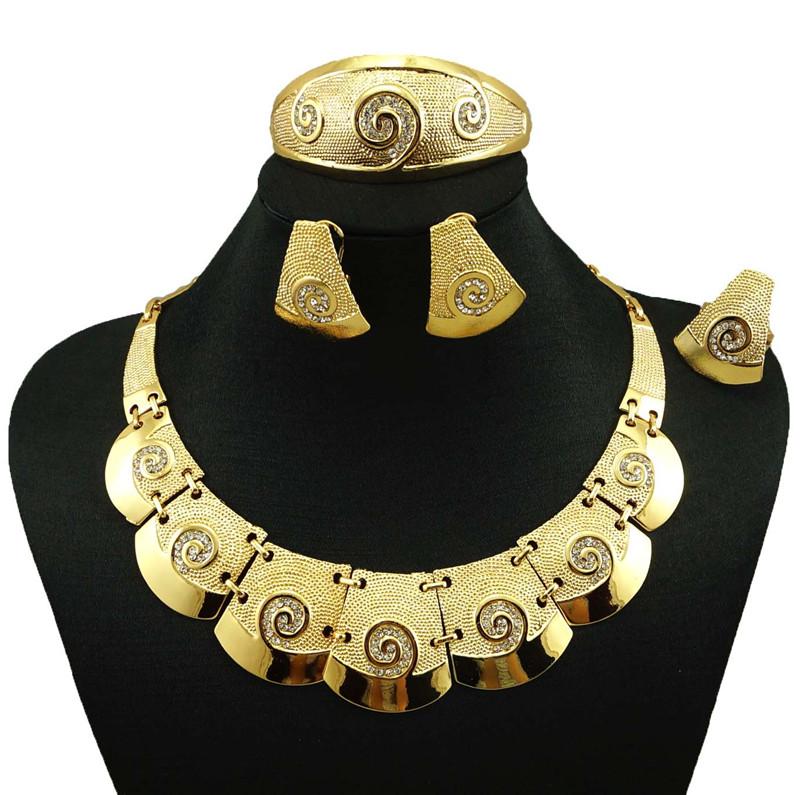 indian jewelry dubai gold plated jewelry women fashion necklace fine jewelry sets 24k gold jewelry sets(China (Mainland))