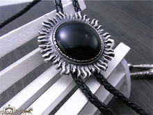 Bolo Tie Retro shirt chain Imitation of obsidian round Poirot led rope leather necklace Long tie hang