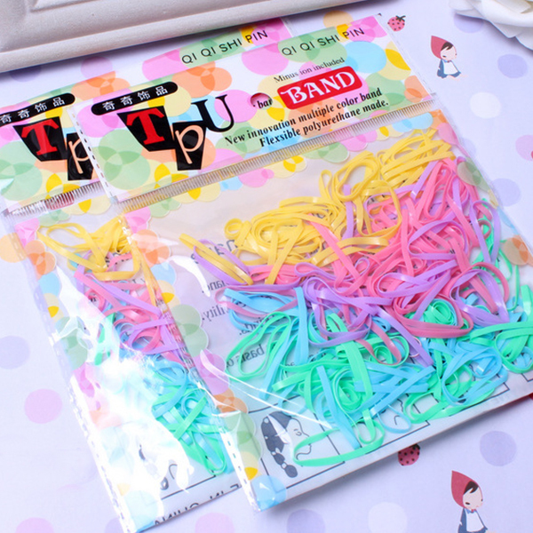 300 PCS Per Pack Colorful TPU Elastic Rubber Hair Bands Ponytail Holder Scrunchies Gum for Children Girls Accessories(China (Mainland))