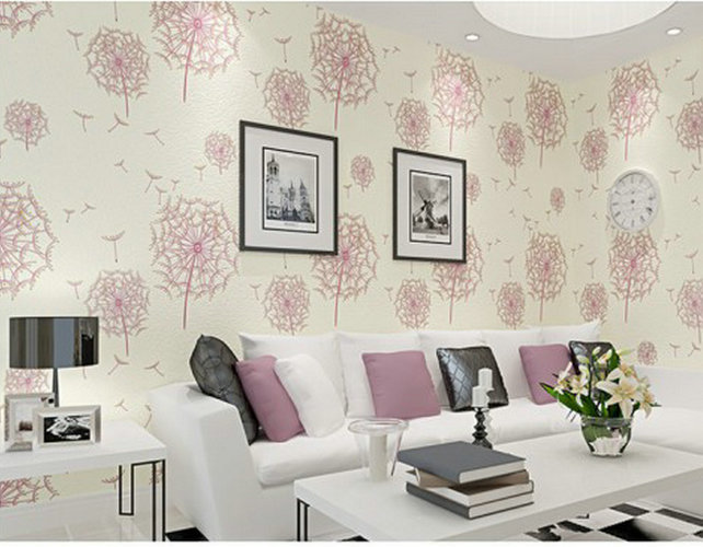 Modern rustic romantic pink dandelion 3d beige wallpaper for Pink living room wallpaper