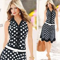 high quality fashion summer style midi dress print polka dot dress robe femme ropa mujer vestidos american apparel elbise R179