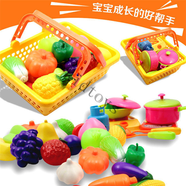 Wholesale-2015 toys Children play toys fruit and vegetable basket toy tableware kitchen set simulation+ FREE SHIPPING(China (Mainland))