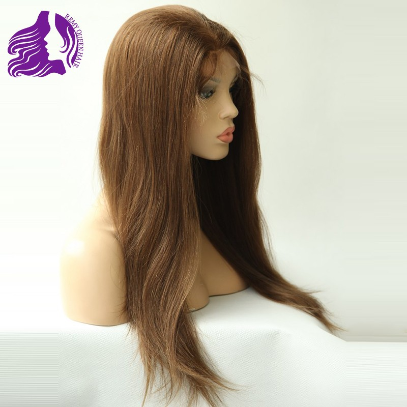 Queen Hair Products Front Lace Wigs with Stretch Lace Back YAKI Straight 8-24 4# Dark Brown Brazilian Remy Human Hair Grade 5A<br><br>Aliexpress