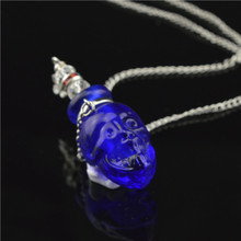 Murano lampwork skull head Oil perfume bottle necklace Aromatherapy Aroma bottles fillable charms pendant bottles Jewerly(China (Mainland))