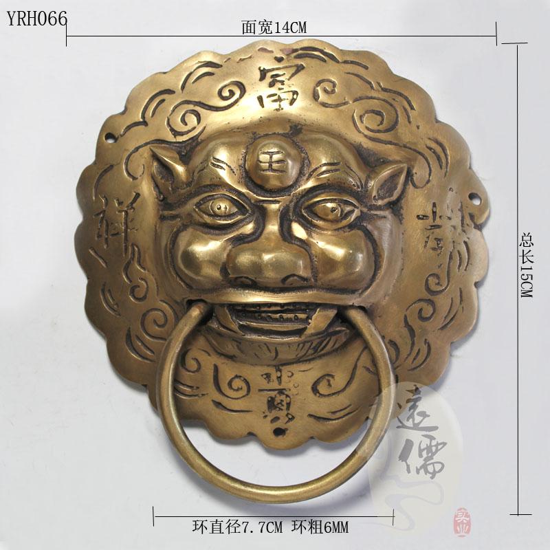 Фотография Chinese antique bronze sculpture copper beast head knocker handle shop door first Y066 diameter 14C