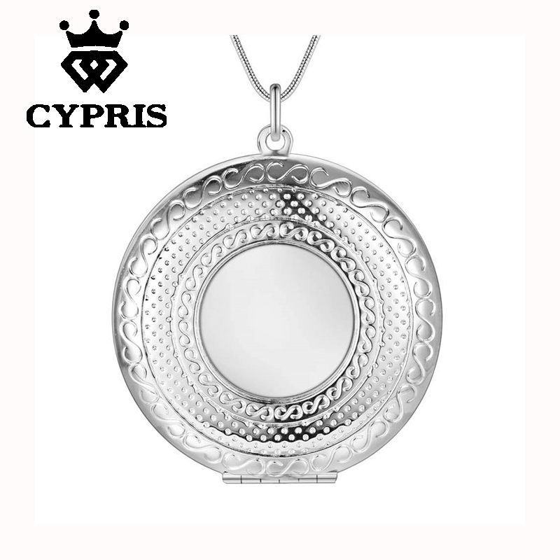 Best Selling Fashion Silver Pendant Big Locket Plate Charm Necklace 13 styles Cheap Good quality Wholesale Price CYPRIS(China (Mainland))