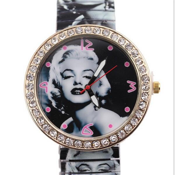Гаджет   Elegant Style Fashion Watch Steel Strip Women Casual Watch Sexy Marilyn Monroe Rhinestone Women Wristwatch Analog Dress Watch None Ювелирные изделия и часы