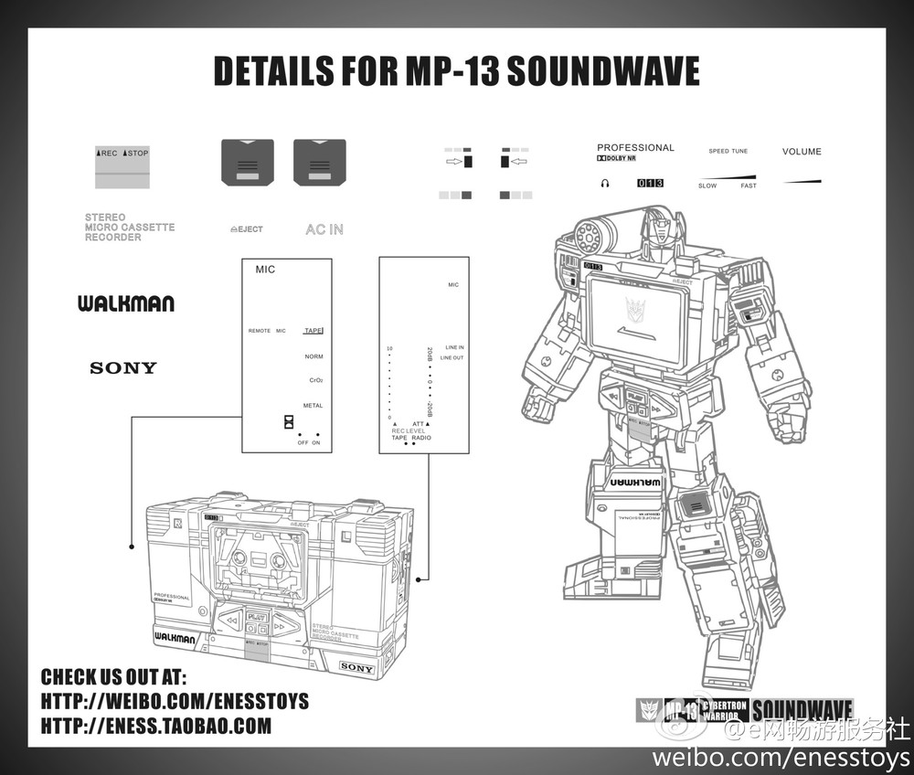 Eness detail sticker for MP13 Soundwave,In stock.(China (Mainland))