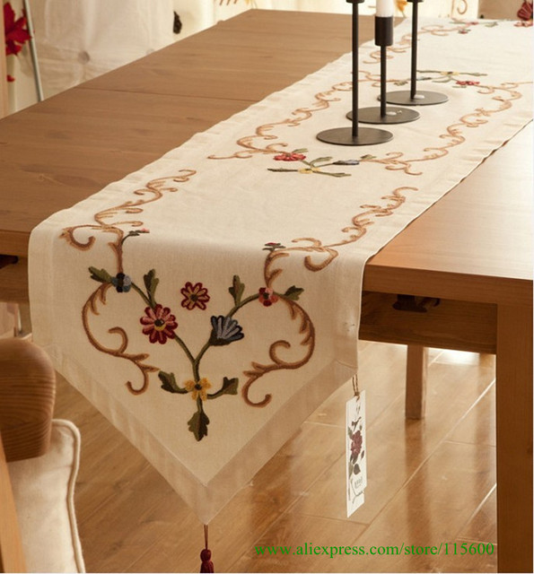 Cotton and linen hand-embroidered table runner with size 39*200cm,home decoration,free shipping