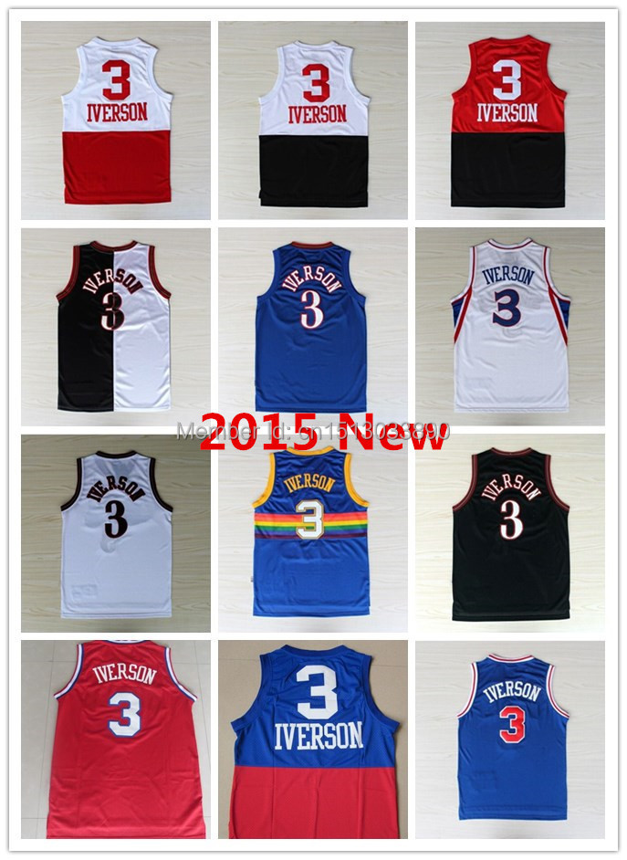 Cheap 2015 Mens Basketball Jersey #3 Allen Iverson Throwback Jerseys Embroidery Logo Black White Blue Red Sport shirt Wholesale(China (Mainland))