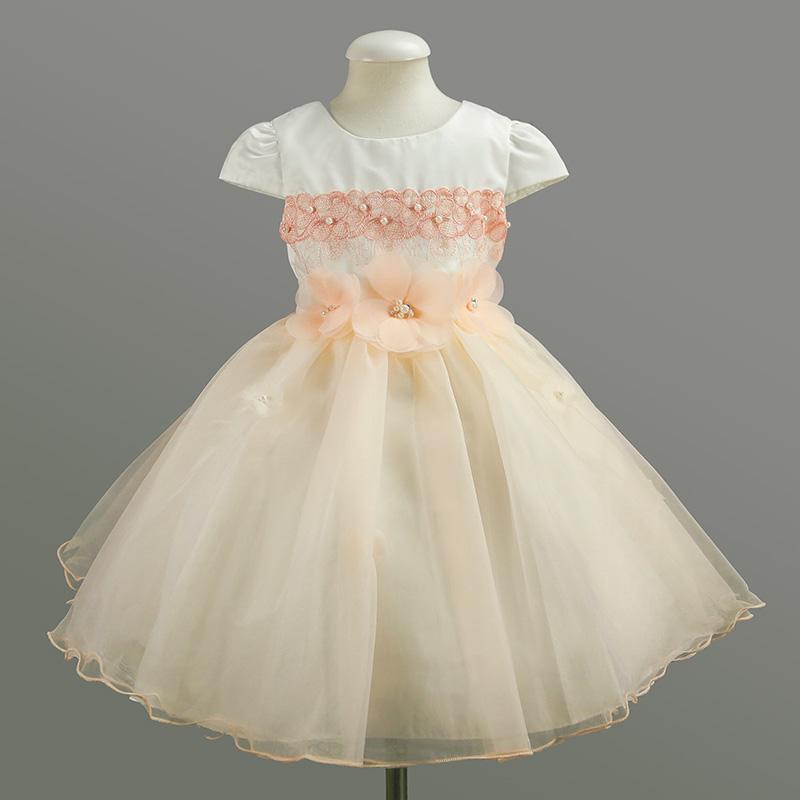 Summer Orange Pink Child Girls Fairy Dress Knee Length Kids Wedding Party Pageant Tulle Dress<br><br>Aliexpress