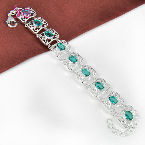 Top Best Seller Fire Oval Green Crystal Silver Plated Chain Bracelets For Women 100% Hand Made B0210(China (Mainland))