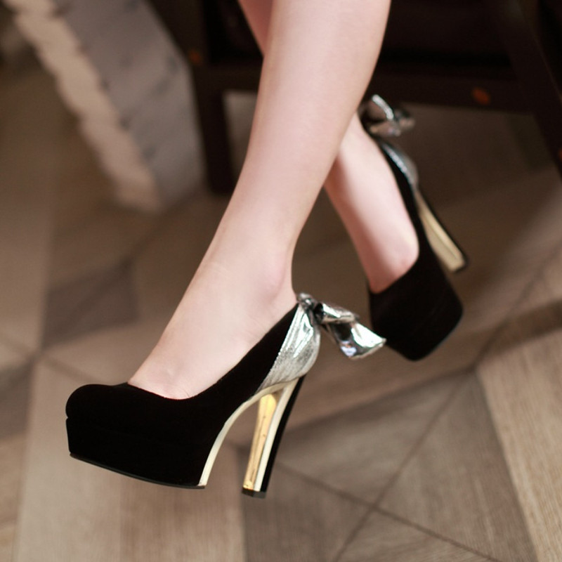 New Spring Bowtie High Heel Shoes Women Platform Pumps 11cm Thick Heel Shoes Woman Wedding Shoes Zapatos Mujer Sapatos Femininos