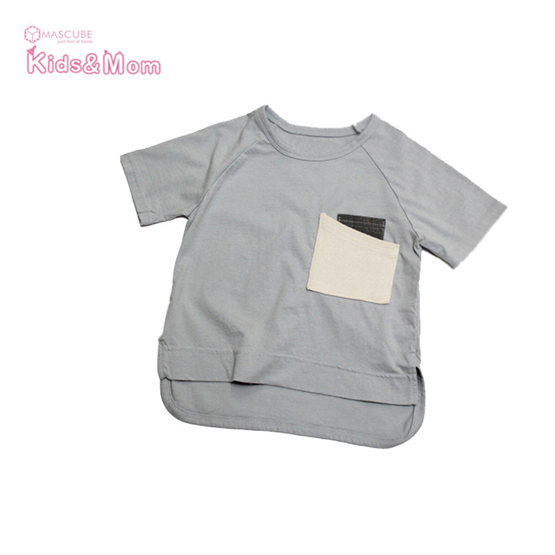 New Children's Clothing Pocket Stitching Design Children T-shirts Kids Summer Tops Baby Boys Short-sleeved Clothes Girls Tees(China (Mainland))
