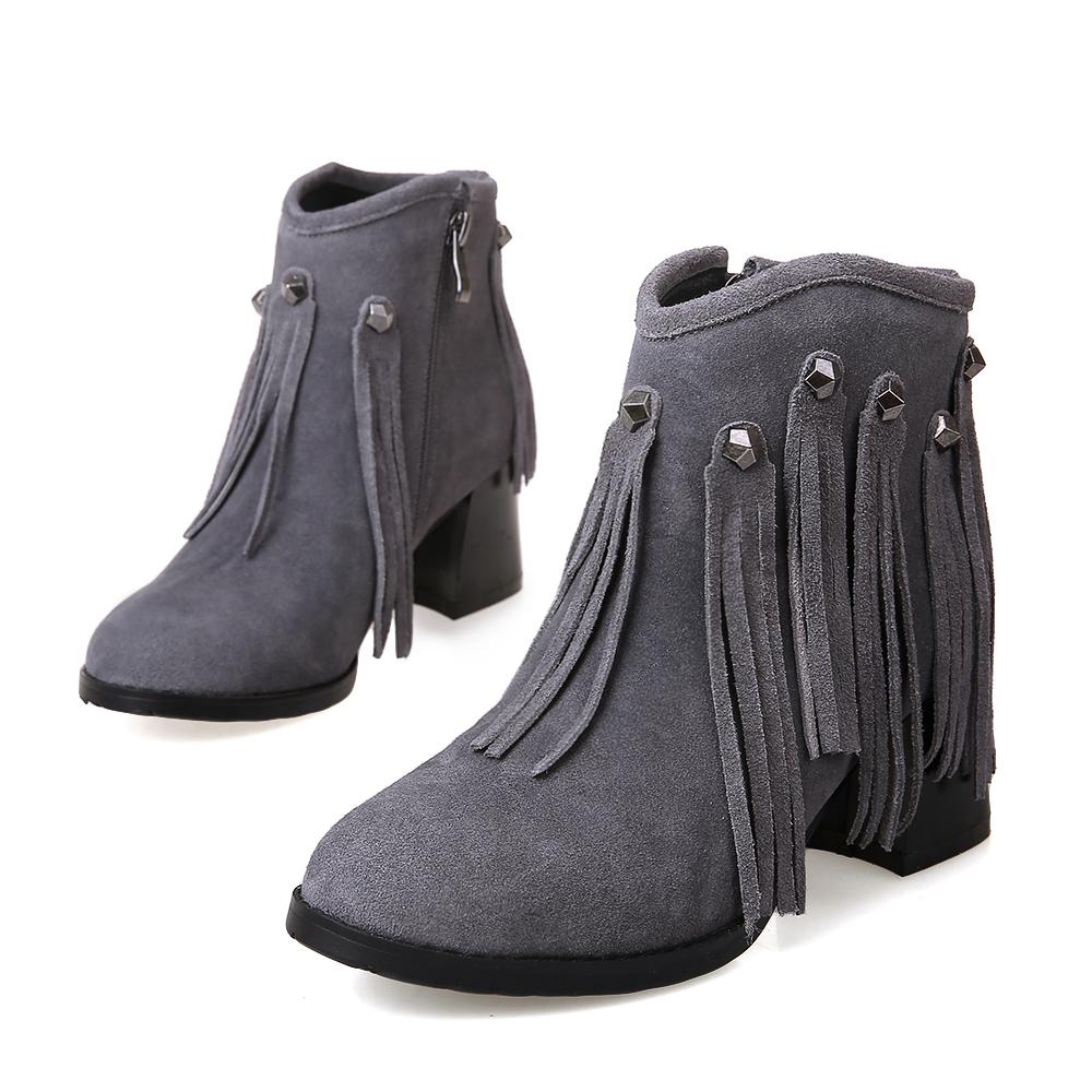 European style nubuck genuine leather round toe ankle boots fashion rivet tassel zipper grey black women's motorcycle boots(China (Mainland))