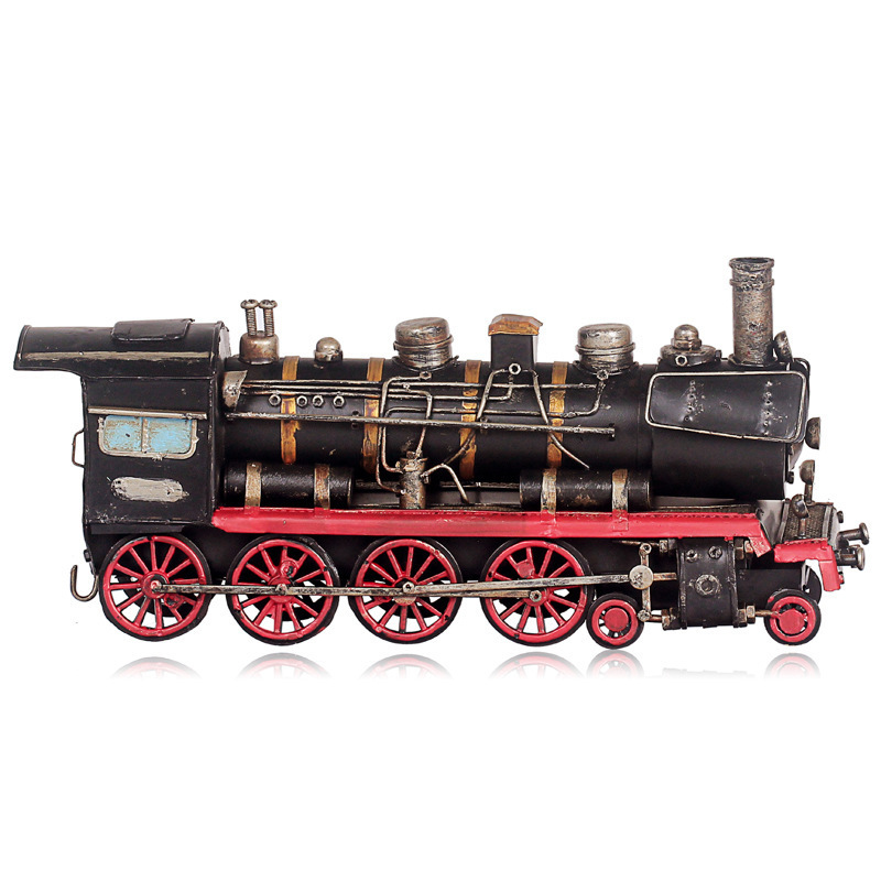 Vintage steam locomotive model ornaments photography props living room entrance windows desktop study crafts(China (Mainland))