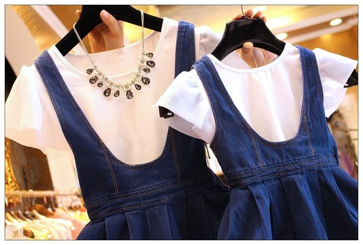 Скидки на [One piece цена] нет ожерелье мать и дочь моды белая рубашка + denim чулок платье костюм семья cooton платье набор