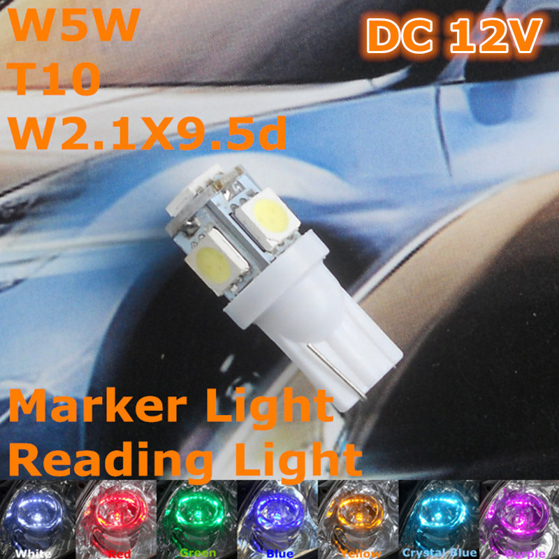 Free Shipping New 12V CE LED Car Bulb(Pair) T10(5*5050 SMD Lamp) W5W W2.1X9.5d for Signal Top Reading Width Parking Light(China (Mainland))