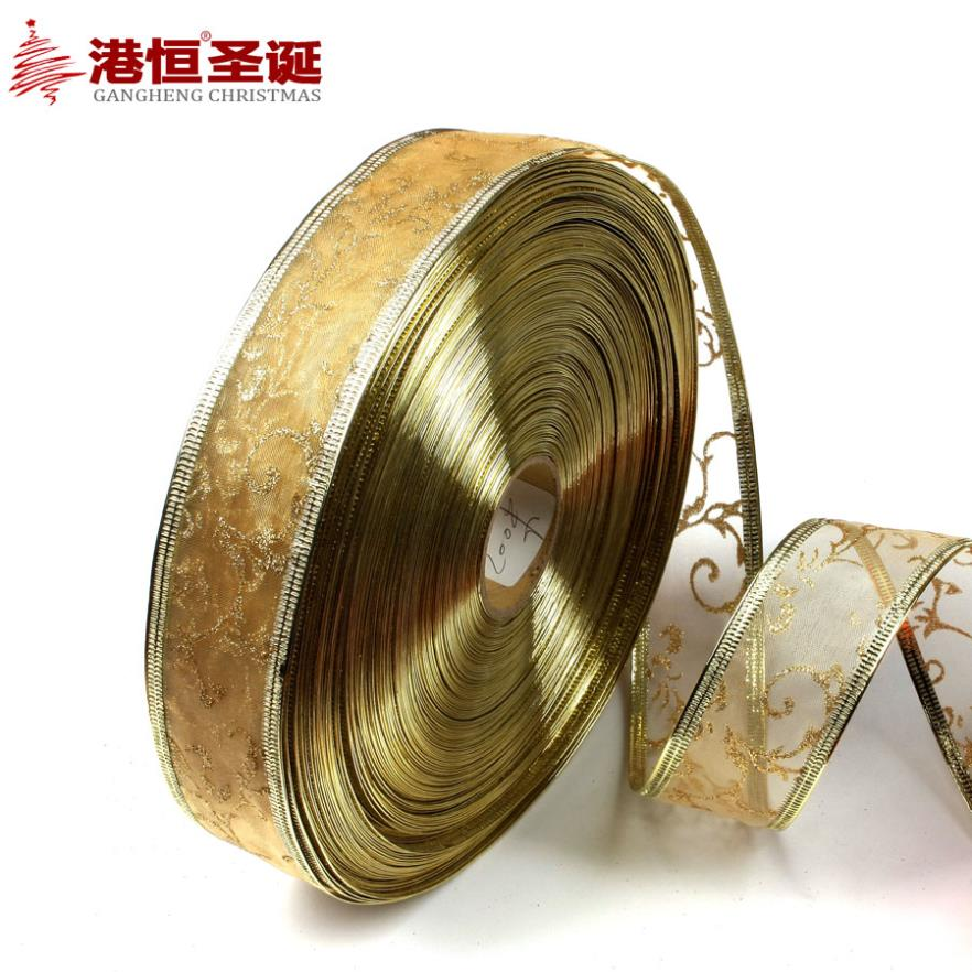 Christmas decorations is 3.8 * 200 cm gold gilding the tree decoration ribbons (multiple random) supplies natal crafts hanging(China (Mainland))