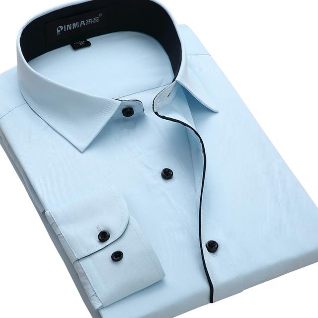 2016 новинка мода воротник бизнес мужские рубашки с длинным рукавом формальные мужчины ...