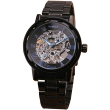 New Vintage Luxury Evening Formal Hand-wind Hollow Steampunk Roman Men's Skeleton Mechanical Watch Black Metal Strap HOT CLASSIC