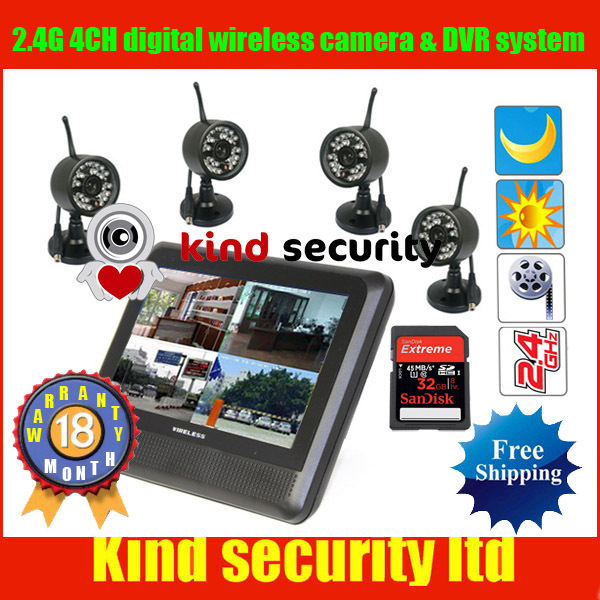 Freeshipping WIRELESS 4CH digital CCTV Camera DVR Security Surveillanc System with Night Vision Camera,accept 32GB SD card<br><br>Aliexpress