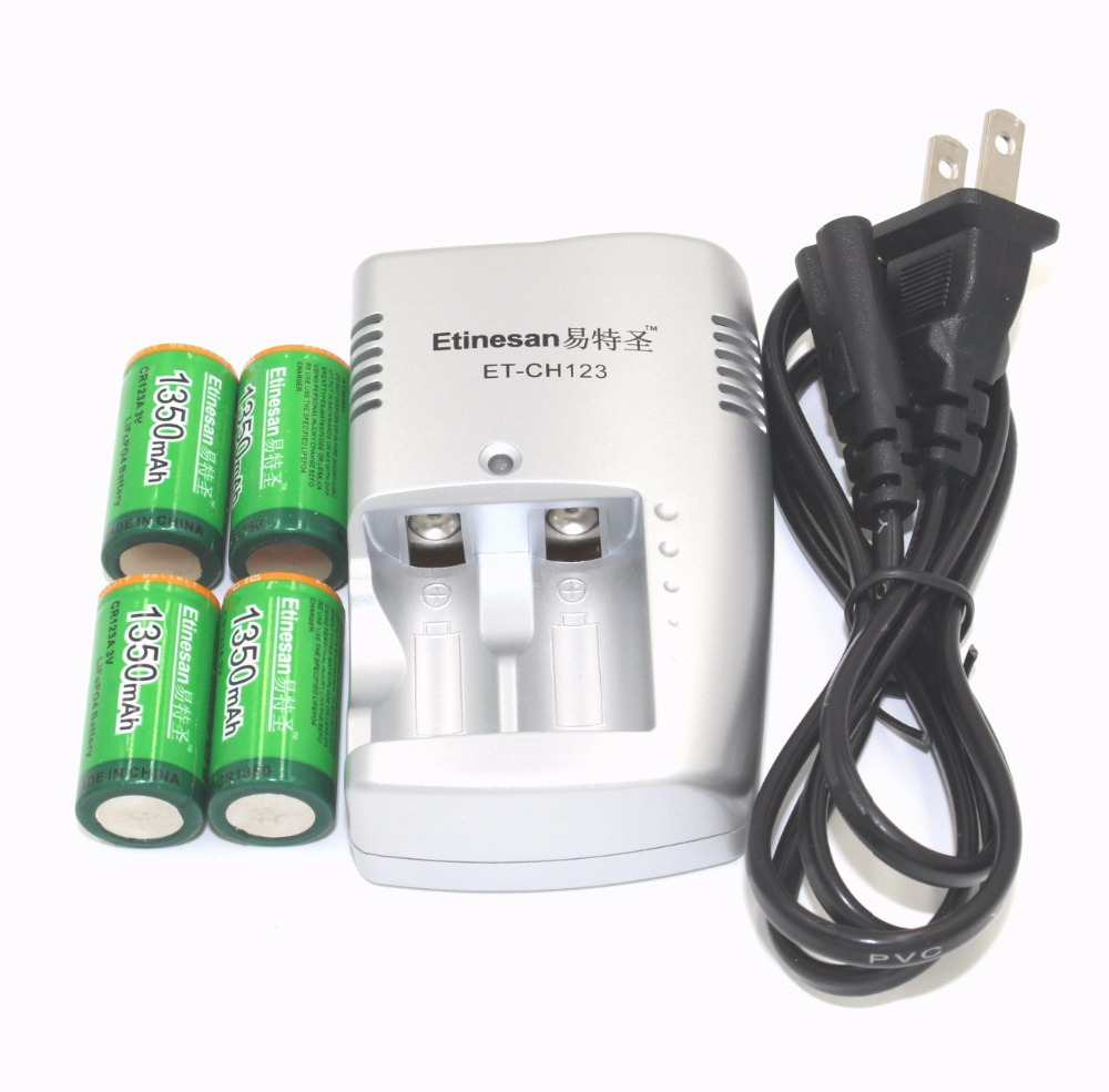 Etinesan 1350mAh 3v CR123A rechargeable LiFePO4 battery lithium + cr123a charger - Lit Amour: Free Choice Cozy Buy ! store