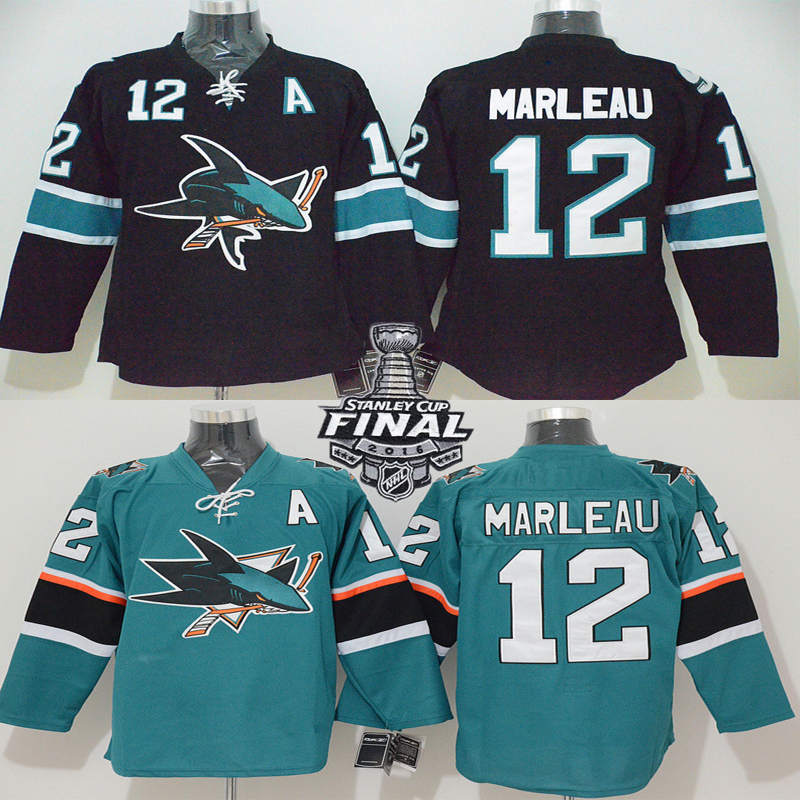 Patrick Marleau Jersey Men's San Jose Sharks #12 Patrick Marleau Home Black Green Stitched Embroidery Logo Ice Hockey Jerseys(China (Mainland))