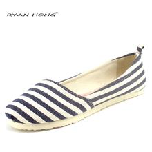 esapdrilles women's canvas flat espadrilles blue shoes strped casual fashion light flats lazy alpargatas relaxed