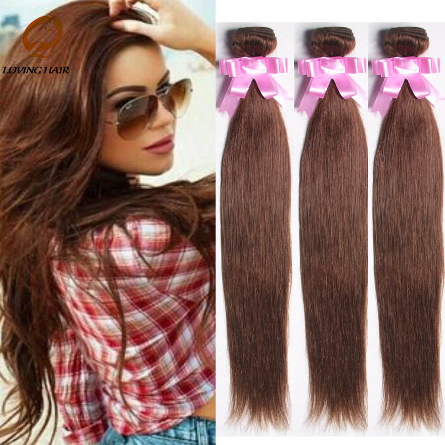 9A Brazilian Striaght Virgin Hair #4 Color Pure ombre Dark Brown Hair weft Remy Hair 3Bundles Summer Vip Beauty Star Model Style(China (Mainland))