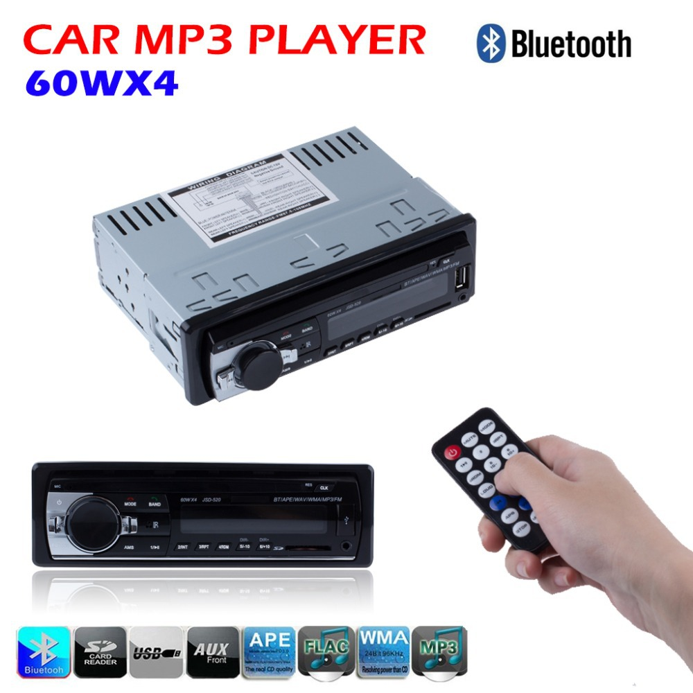 Hot 12V Bluetooth Car Stereo FM Radio MP3 Audio Player 5V Charger USB/SD/AUX/APE/FLAC Car Electronics Subwoofer In-Dash 1 DIN(China (Mainland))