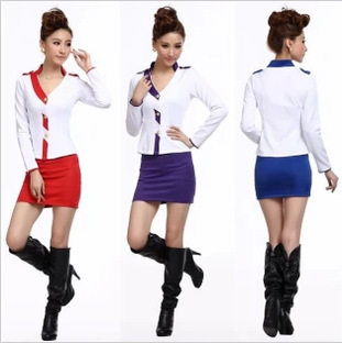 Гаджет  2014 new slim KTV uniform clothing airline stewardess dress Princess Dress slim lady None Изготовление под заказ