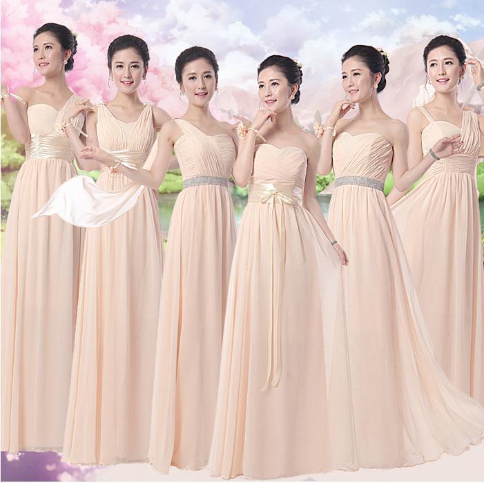 2015 Champagne Color Long Design Elegant Bridesmaid