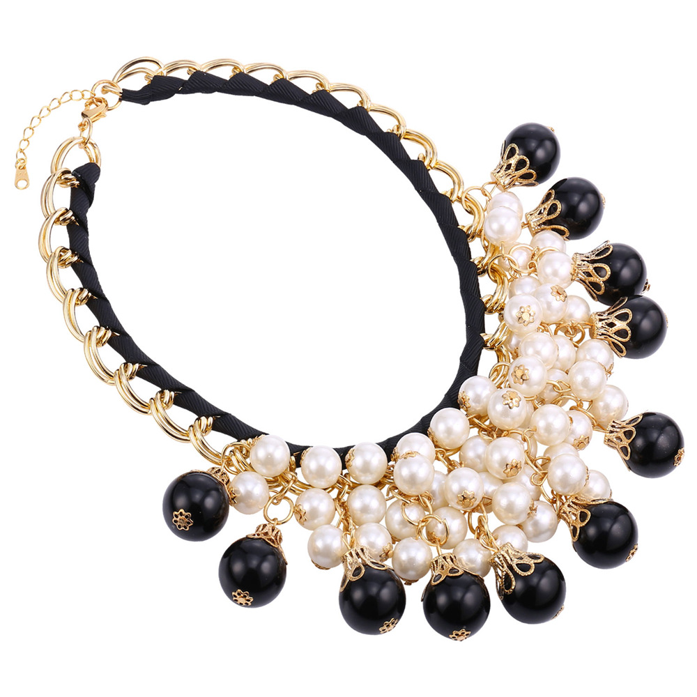 2016 New Pearl Jewelry Women Maxi Necklace Fashion Luxury White And Black Pearl Necklace Statement Necklace Wholesale IN1865(China (Mainland))