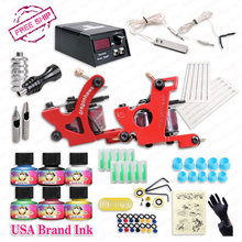 Free Cheap Tattoo Kit  Complete 2 Tattoo Machines  6 Colors USA Brand Tattoo Inks Power Supply Kit(China (Mainland))