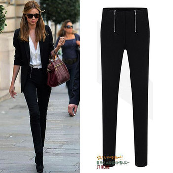 Spring Double Zippers Skinny Long Elastic Cotton Pencil Pants Pure Color Slim Casual Bottoming All Match Quality Women Capris