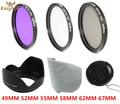 KnightX 52mm 58mm 67mm 55mm UV FLD CPL lens Filter Set Petal Shaped Lens Hood for