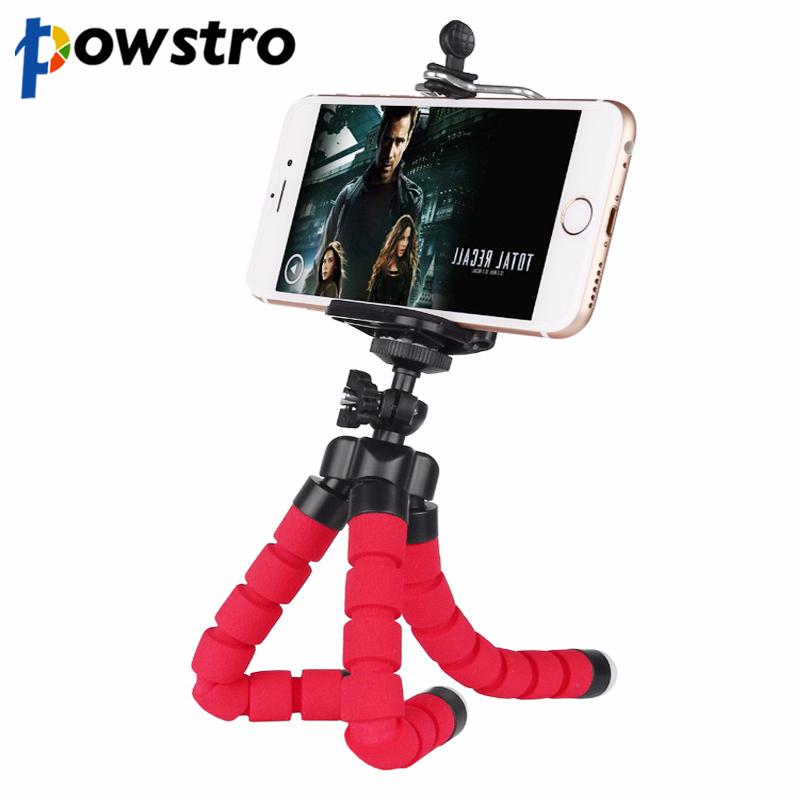 powstro Mini Portable Flexible Tripod with Phone Holder Bracket Stand Tripod Kit for iPhone 6s 7 Xiaomi Samsung HTC DSLR Camera(China (Mainland))