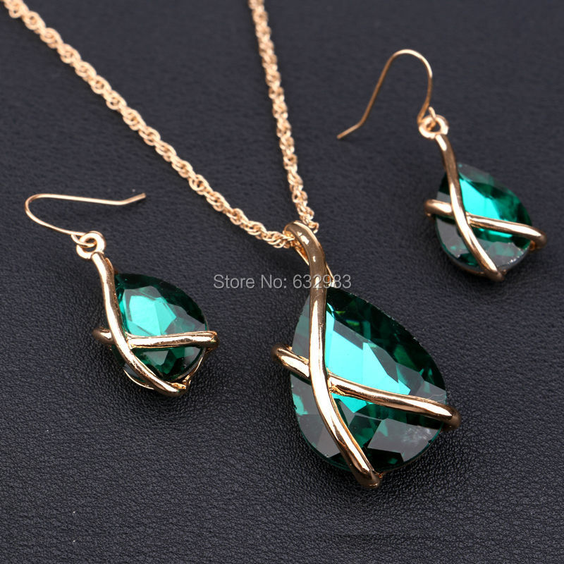 Fashion Austria Crystal Jewelry Sets 18K Gold Plated Cross Waterdrop Pendant Necklace Earrings Set Women Accessories - CocoYing-Jewelry store