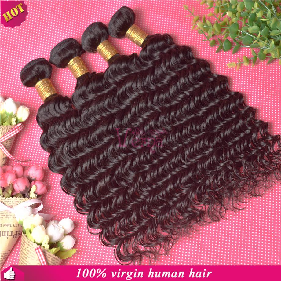 Rosa Hair Products Peruvian Virgin Hair Deep Wave/curly 6pcs lots,Real 5A Human Hair Weave Wavy Free Shipping,Hair Extensions