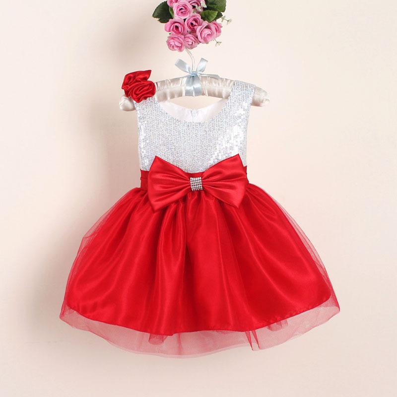 Christmas flower girl dresses hot red sequin big bow baby party dress