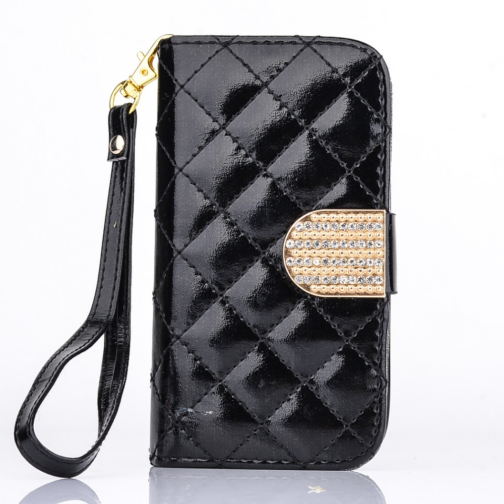 Fashion flip phone bag protection bracket slot diamond buckle leather wallet silicone for Samsung Galaxy S3MINI I8190 case cover(China (Mainland))