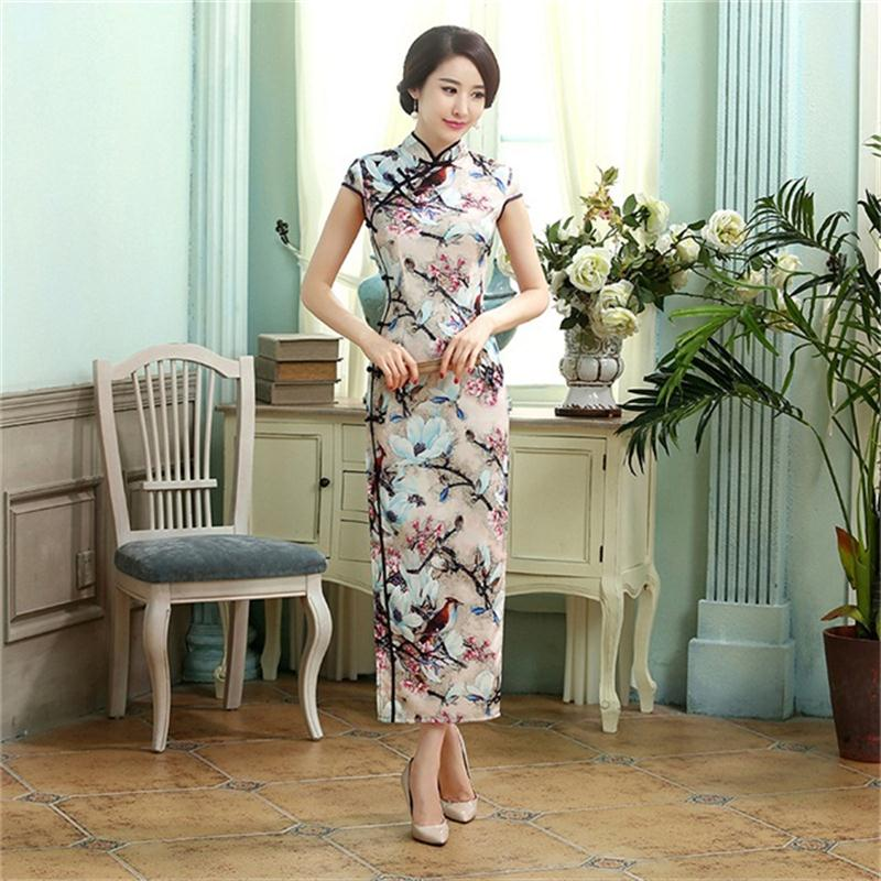 Dropshipping Chinese Lady Silk Satin Long Cheongsam Qipao Bridesmaid Evening Dress/Qipao Size S M L XL XXL C0015Одежда и ак�е��уары<br><br><br>Aliexpress