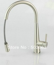 "Buy Wholesale 16""Nickle Swivel Spout 2 Sinks Kitchen Brass Faucet Basin Sink Pull Spray Single Handle Mixer Tap S-785 for $68.05 in AliExpress store"