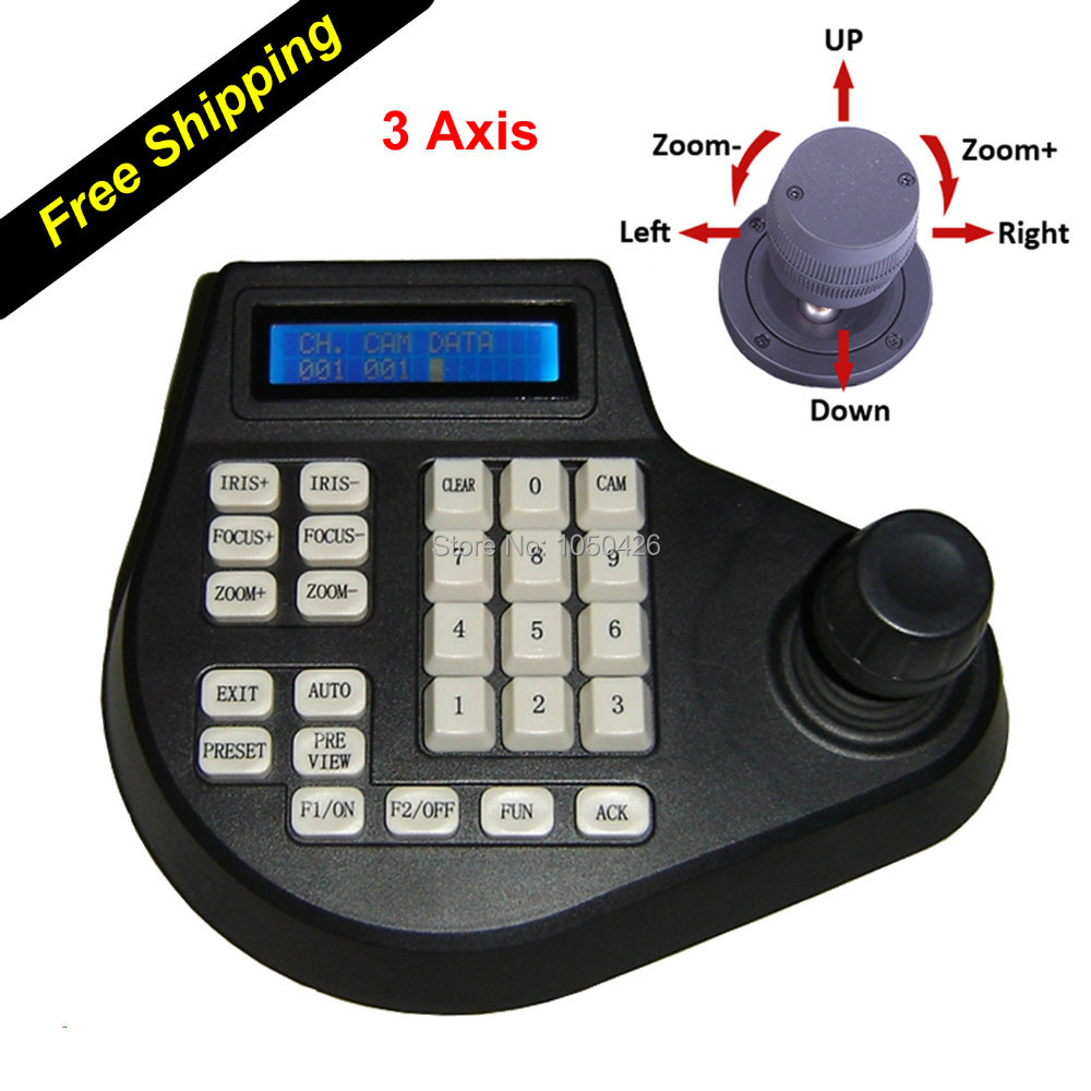 3 Axis 3D Dimension Joystick CCTV Keyboard Controllers for PTZ Speed Dome Camera Support Pelco-D Pelco P protocol via RS485(China (Mainland))