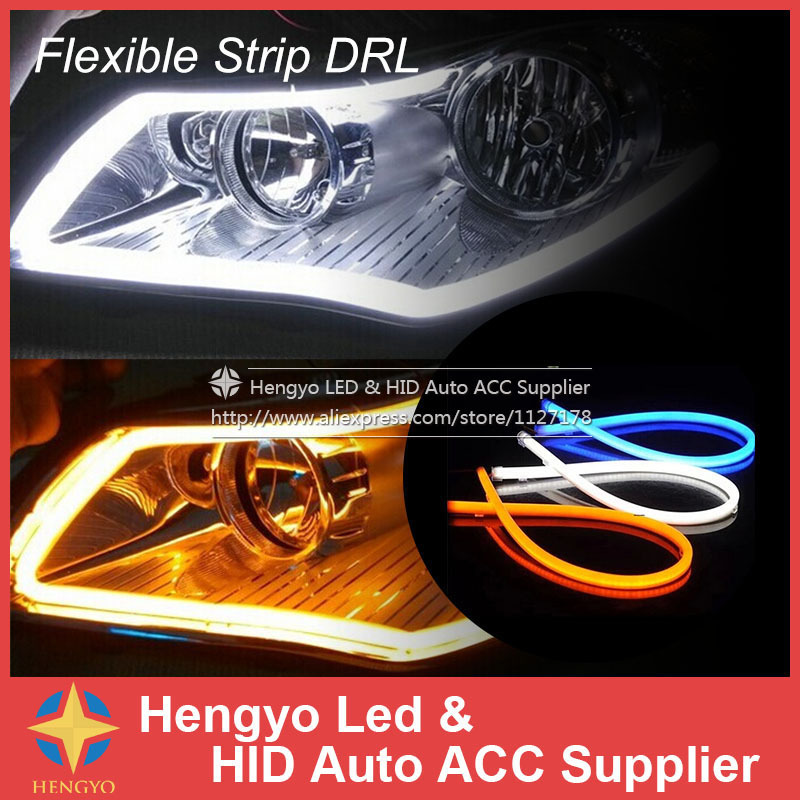 External lights 60cm DIY Amber Color Flexible Strip Turn Signal Tube Angel Eye DRL LED Daytime Running Head Headlight Light(China (Mainland))