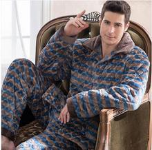 Free shipping New arrival Coral fleece thickening male cotton-padded pajamas winter sleepwear male long-sleeve flannel lounge(China (Mainland))