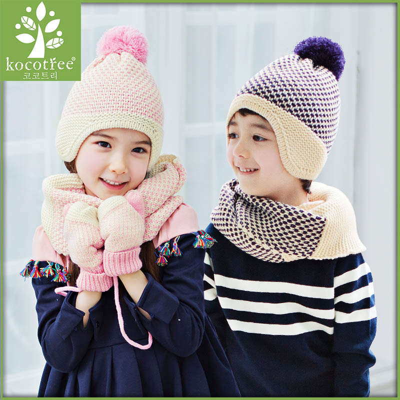 Kocotree kids winter keep warm 2 pieces sets knitted cotton for boys girls plain weaving crafts simple fashion 2016 new arrival(China (Mainland))