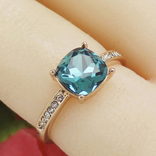 Buy MOONROCY Free fashion jewelry wholesale square blue crystal Ring Rose Gold Color women wedding ring for $4.49 in AliExpress store